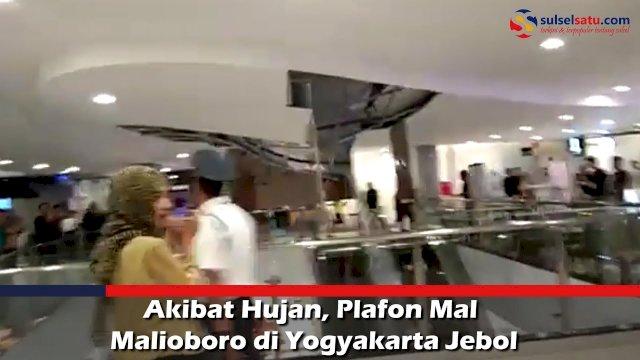 VIDEO: Akibat Hujan, Plafon Mal Malioboro di Yogyakarta Jebol