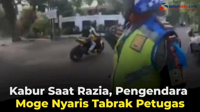 VIDEO: Kabur Saat Razia, Pengendara Moge Nyaris Tabrak Petugas
