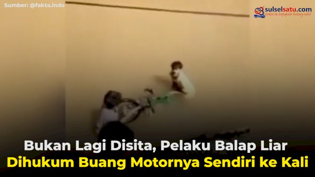 VIDEO: Bukan Lagi Disita, Pelaku Balap Liar Dihukum Buang Motornya Sendiri ke Kali