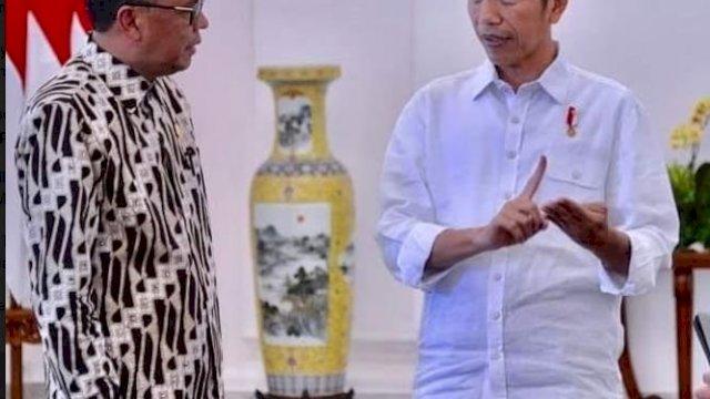 Gubernur Sulsel Nurdin Abdullah dan Presiden Joko Widodo. (ist)