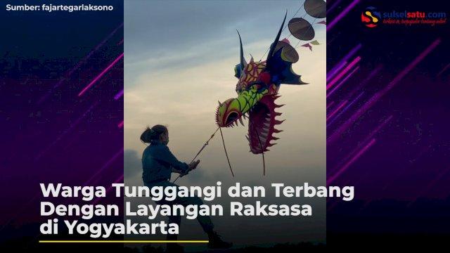 VIDEO: Warga Tunggangi dan Terbang Dengan Layangan Raksasa di Yogyakarta
