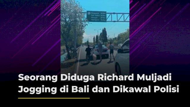 VIDEO: Seorang Diduga Richard Muljadi Jogging di Bali dan Dikawal Polisi