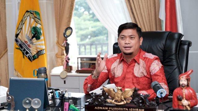 Bupati Gowa, Adnan Purichta Ichsan membuka Musrenbang Anak yang digelar Bappeda Gowa, di Peace Room A'Kio, Kantor Bupati Gowa, Kamis (11/2/2021).