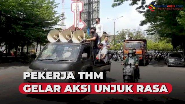 VIDEO:Pekerja THM Gelar Aksi Unjuk Rasa di Balai Kota Makassar