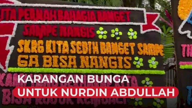 VIDEO: Warga Kirimkan Karangan Bunga untuk Nurdin Abdullah