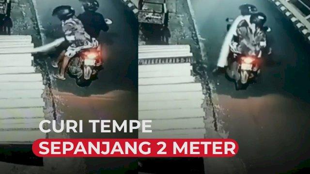 VIDEO: Terekam CCTV, 2 Pria Ini Curi Tempe Sepanjang 2 Meter