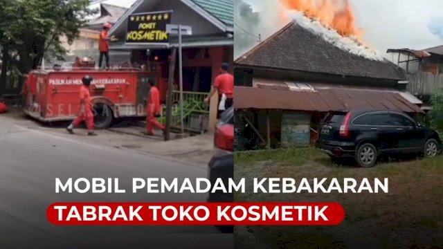 VIDEO: Detik-detik Mobil Pemadam Kebakaran Tabrak Toko Kosmetik