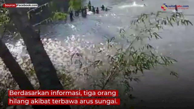 VIDEO: Mobil Pemudik Tujuan Pinrang Jatuh ke Sungai, Tiga Orang Hilang