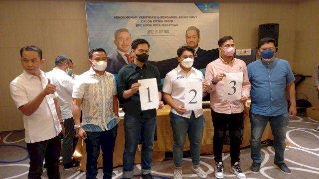 Pengundian Nomor Urut Caketum HIPMI Makassar, Nidal 1, Fadel 2, Hikmah 3