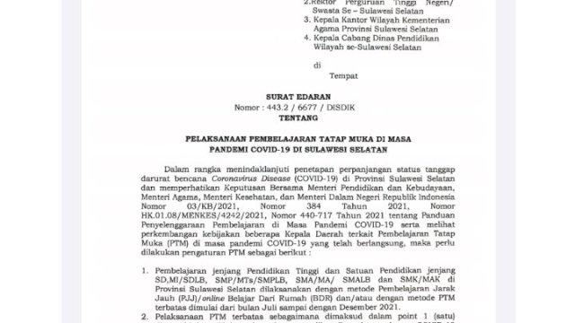Plt Gubernur Sulsel Perpanjang Belajar Online hingga Desember