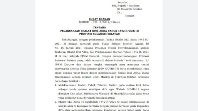 Pemprov Sulsel Izinkan Warga Shalat Idul Adha di Lapangan, Asal!