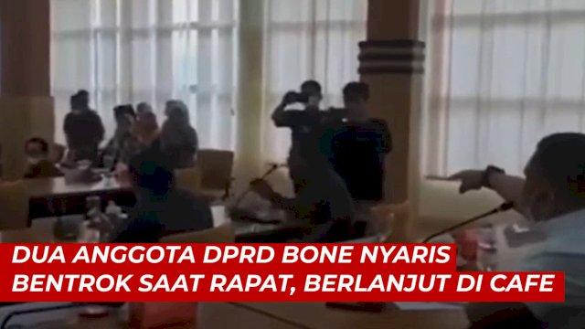 VIDEO: Dua Anggota DPRD Bone Nyaris Bentrok Saat Rapat, Berlanjut di Cafe