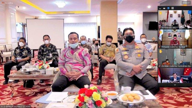 Rakor PTM Bersama Menko Marves, Plt Gubernur Sulsel Minta Walikota dan Bupati Buka PTM Kapasitas 50% Pada PPKM Level 1-3