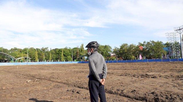 Pantau Rehabilitasi Lapangan Alun-Alun Kota, TP : Persiapan Tempat Latihan PSM Makassar