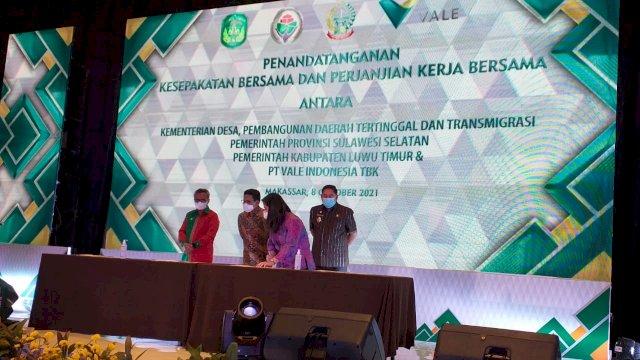 Dukung Pengembangan Potensi Unggulan Pedesaan, PT Vale Teken MoU Bersama Kementerian Desa & PDTT