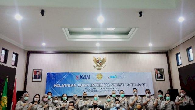 Balai Besar Karantina Pertanian Makassar menggelar pelatihan Griyaan Audit SNI ISO 19011 - 2018 di BPKP Makassar